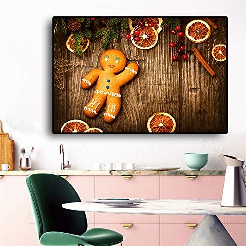 SADHAF Weihnachtsbaum Essen Poster Malerei Skandinavische Pop-Art Wohnzimmer Küche Dekoration A5 60x90cm
