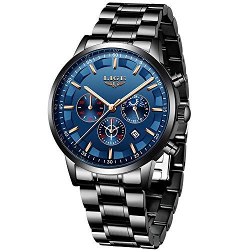 Watches Men Stainless Steel Sport Analog Quartz Watch Men Luxury Brand LIGE...