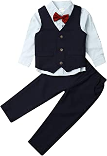 Toddler Baby Boys Formal Clothes Outfits 4Pcs Suit Top+ Pant+ Vest+ Bow TieTuxedo Christening Suit Gentleman Outfit Set