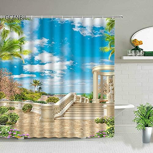 XCBN Lantligt landskap hav blomma växt vår landskap badrumsdraperi badkar dekoration vattentät duk med krok U 180 x 180 cm