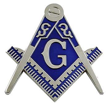 Blue Square & Compass Masonic Mason Freemasonry Car Cut-Out Metal Auto Decal Badge C504