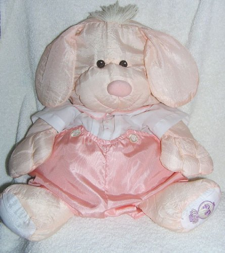 Vintage 1986 Puffalumps 15' Peach Puppy Puffalump with Peach Removeable Romper