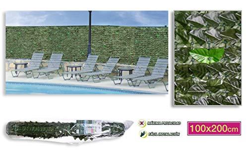TIENDA EURASIA® Seto Artificial - Valla de Ocultación Decorativa de Hojas Artificiales. Valla 100% Privacidad y Fácil Instalación. Frondoso Ideal para Decorar tu jardín (100 x 200 cm, Verde Mix)