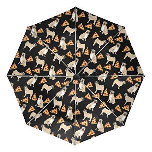 Pug Dogs Pizza Sun&Rain Automatic Umbrella Windproof Travel UV