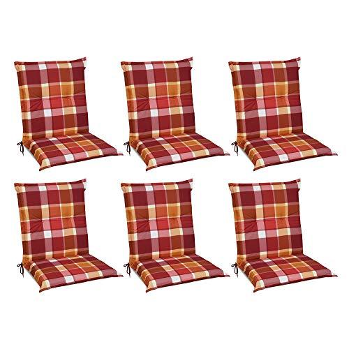 Beautissu 6er Set Sunny RO Niedriglehner Auflagen Set für Gartenstühle 100x50 cm Polster in Rot Kariert - Bequeme Gartenstuhl Stuhlkissen Polsterauflagen mit UV-Lichtecht