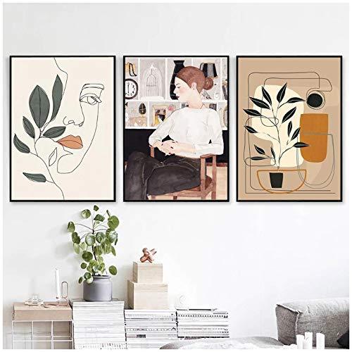 Cuadro dormitorioEstilo nórdico Imagen de Chica de Moda Arte de Pared Modular Pintura en LienzoPóster Moderno para niñas Dormitorio Decoración del hogar 7.8x11.8in (20x30cm) x3psc SIN Marco