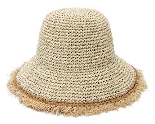 GEMVIE - Playa Plegable Sombrero de Sol Mujer Sombrero de Paja Verano ala Ancha Ajustable con Verano Primavera Transpirable Vacaciones