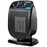 BAYKA Space Heater, Portable Electric Space Heater for Office and Home, Ceramic Small Heater with Adjustable Thermostat, Tip-Over and Overheat Protection, 900W/1500W