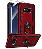 Samsung Galaxy S8 Plus Case with HD Screen Protectors, Androgate Military-Grade Metal Ring Holder Kickstand 15ft Drop Tested Shockproof Cover Case for Samsung Galaxy S8+ (2017) Red