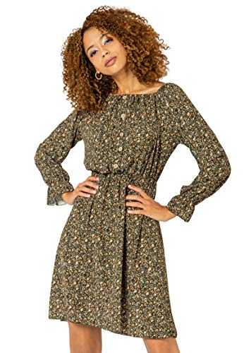 Sublevel Damen Carmen-Kleid mit Blumen Print Schulterfrei Green XL