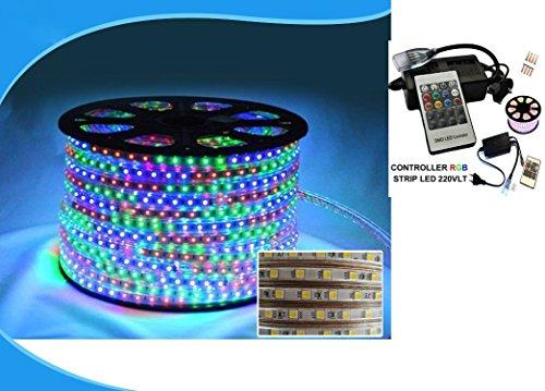 081 Store - Strisce LED Illuminazione 50m 220V,Cambia colore,RGB LED Strip 5050 SMD Impermeabile, kit con telecomando