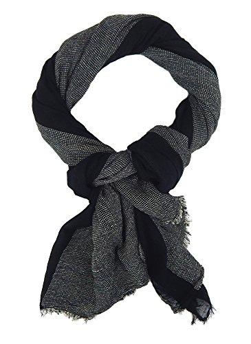Ella Jonte Écharpes foulard d'homme élégant et tendance de la dernière collection by Casual-style noir blanc coton