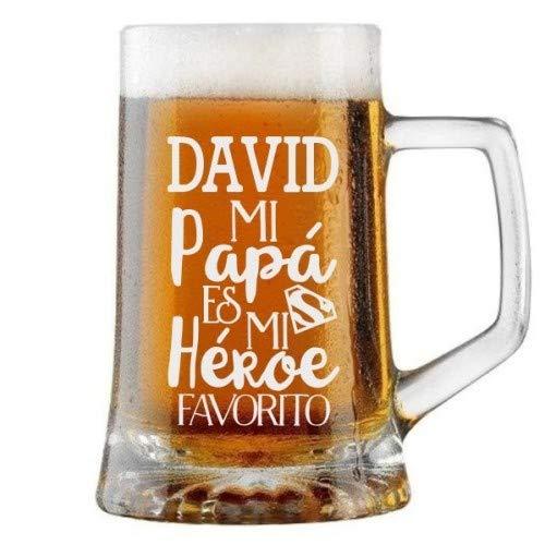 Jarra de Cerveza Personalizada Día del Padre PAPÁ ES MI HÉROE Regalo Grabado y Personalizado para Hombre o Mujer Obsequio Celebraciones Cumpleaños Aniversarios Día del Padre Detalle