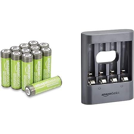 Amazon Basics Chargeur de Nuit USB - Noir & Piles Rechargeables AA Haute capacité 2400mAh (Lot de 12) - Pré-chargées