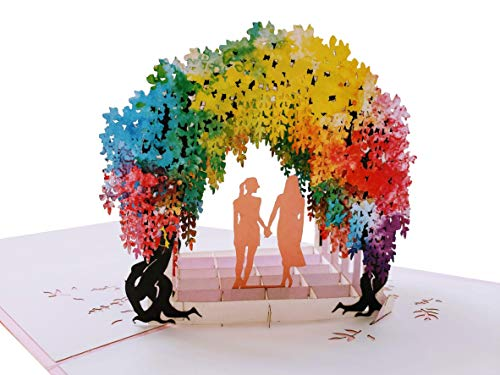iGifts And Cards Lesbian Rainbow Wisteria Flower Tunnel 3D Pop Up Greeting Card - Wedding, Marriage, Engagement, Anniversary, Pride, Lovers, Romantic