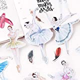 Hand-Bill Stickers Translucent Material Cute Literary Small Fresh Decorative Character Set Ballet Decal Mobile Phone Computer 14 Pcs