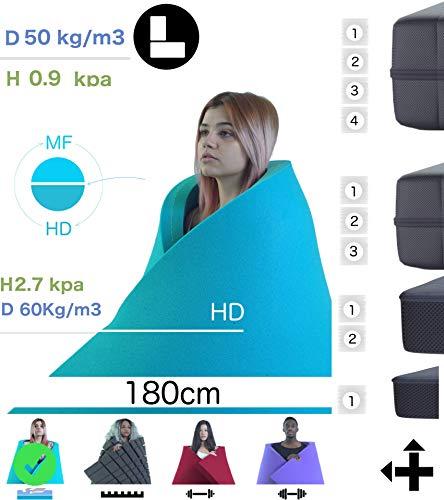 LANGEL SYSTEM 180 x 200 x 6 cm VISCOELASTIC Foam/HD Schaum mit ätherischem Öl aus Orangenblüten Memory-Effekt + hohe Dichte für Matratze und Topper Fügen Sie unsere Cover hinzu.