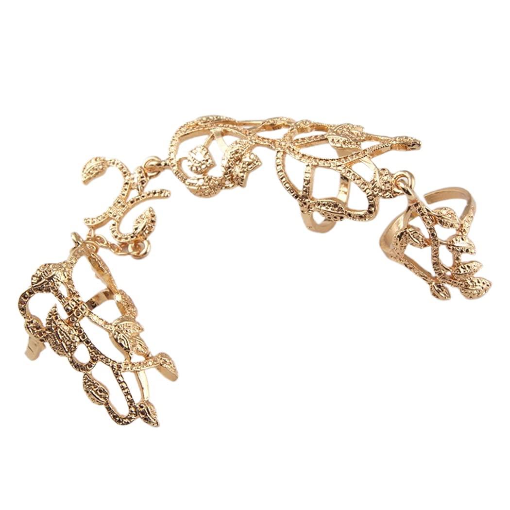 Dresbe Boho Butterfly Ring Gold Rhinestone Statement Rings Flower Joint Knuckle Ring Full Finger Armor Rings Multiple Finger Ring Wedding Hand Jewelry Accessories for Women and Girls (Flower)