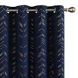 UMI by Amazon Cortinas Opacas Decorativas con Motivos Líneas con Ojales 2 Piezas 117x138cm Azul Marino