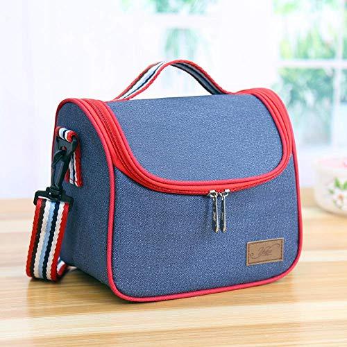 Bolsa de almuerzo de engrosamiento de mezclilla Bolsa de doble papel de aluminio aislante bolsa de bolsa de mujer gran entrega de comida bolsa de almuerzo portátil y útil