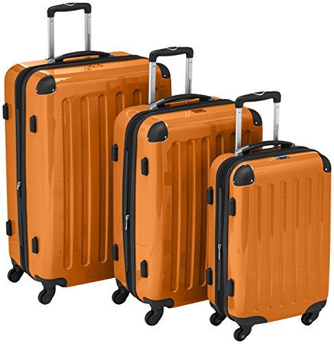 HAUPTSTADTKOFFER - Alex - 3er Koffer-Set Trolley-Set Rollkoffer Reisekoffer Erweiterbar, 4 Rollen, (S, M & L), Orange
