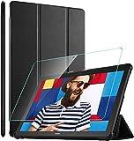 ELTD Hülle mit Bildschirmfolie für Huawei MediaPad T5 10, Flip Eingebautem Magnet PU Leder Schutzhülle mit Glas Bildschirmsfolie für Huawei MediaPad T5 10,1 Zoll 2018(Schwarz)