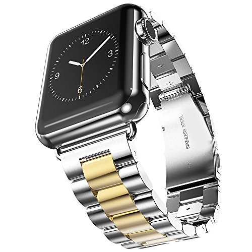 U191U Band Compatible with Apple Watch 38mm 42mm Stainless Steel Wristband Metal Buckle Clasp iWatch 40mm 44mm Strap Bracelet for Apple Watch Series 4/3/2/1 Sports Edition (Silver/Gold, 38MM)