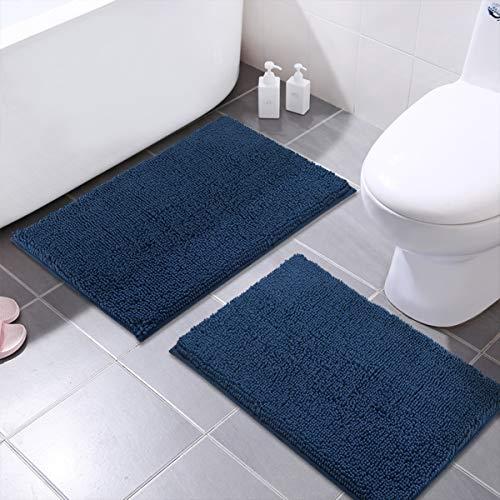 MAYSHINE Bath Mats for Bathroom Rugs Non-Slip Machine Washable Soft Microfiber 2 Pack (20×32 Inches, Dark Blue)