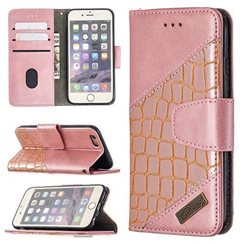 YANCAI Funda Protectora Caso para iPhone 6 Cartera Multifuncional Teléfono Móvil Caja de Cuero Premium Color Sólido PU Caja de Cuero, Titular de la Tarjeta de crédito Función Función Caja Plegable