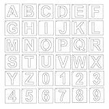 MIKI-Z Plantillas de letras de 4 pulgadas, 36 plantillas de arte del alfabeto para manualidades, reutilizables para decoración de bricolaje