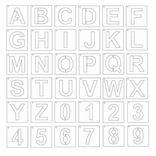 SUCHUANGUANG - Plantillas de Letras de 4 Pulgadas, 36 Piezas de Plantillas de Arte del Alfabeto, Reutilizables para Plantillas de decoración de Bricolaje, Color Blanco