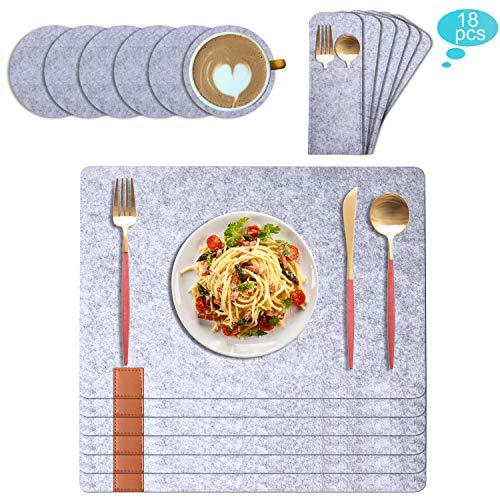 TENSUN Filz Tischset, Abwaschbares Tischset mit Untersetzer und Besteckbeutel, Hitzebeständig Anti-Rutsch Platzdeckchen Tischset (Grau, 18 Stück)