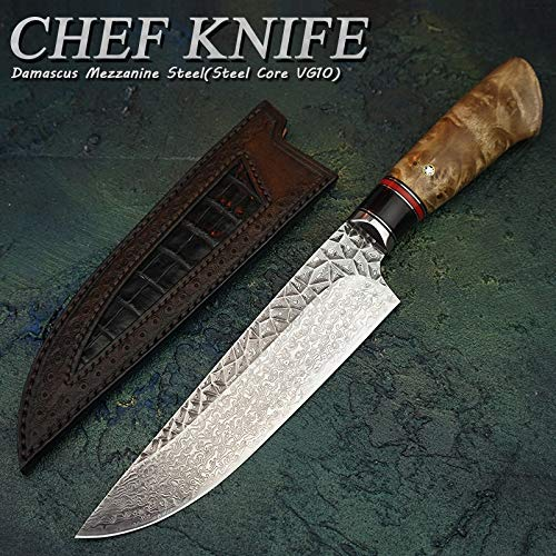 Best Quality Kitchen Knives 6.8 inchDamascus Steel VG10 Chef's Knife Japanese Style Gyuto Knife Kitchen Cooking Tools With Handmade Carved Leather Sheath