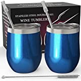 Stainless Steel Stemless Wine Tumbler 2 Pack Sparkle Blue 12 oz | Double Wall Vacuum Insulated Wine Tumbler with Lids and Straws Set of Two for Coffee, Wine, Cocktails, Ice Cream