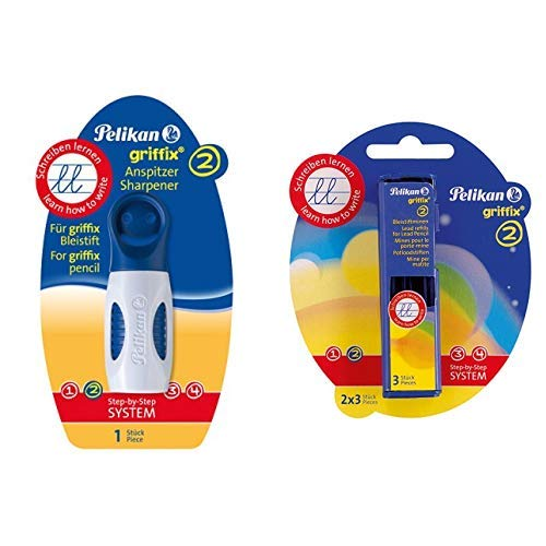 Pelikan 723932 Griffix Anspitzer, blau & Griffix Bleistiftminen HB 2 x 3 Blisterpackung