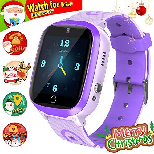 GPS Smartwatch, Reloj Impermeable para NiñOs Reloj Inteligente Rastreador de TeléFono HD Pantalla TáCtil Smartwatch SOS Linterna Digital Reloj Despertador Chat De Voz Juego de MatemáTicas Reloj