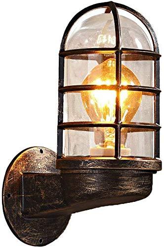 Nclon Vintage industriële metalen mand ijzeren wandlampen, E27 Base 40W Retro wandlamp woonkamer slaapkamer veranda geen gloeilamp inculde- 7x16cm (roest)