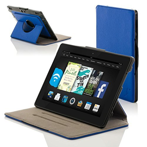 Forefront Cases Cover for Amazon Fire HD 6 (4th Generation) Rotating Smart Case Cover Stand - Extra Padded Rugged, Full Device Protection & Smart Auto Sleep Wake - Blue