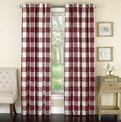 Lorraine Home Fashions 09570-63-00148 RED Courtyard Grommet Window Curtain Panel, Red, 53' X 63'