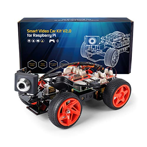 SUNFOUNDER Smart Video Car Kit V2.0 für Raspberry Pi 4 Model B 3B+ 3B 2B Roboter Bausatz mit Graphical Visual Programming Language, Remote Control, Elektronik Auto Robot Spielzeug