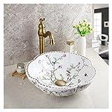 lavamanos Cuenco artístico del diseño de la flor del material de cerámica de la embarcación del buque con el grifo de latón del vintage y el combo de drenaje emergente mueble lavabo