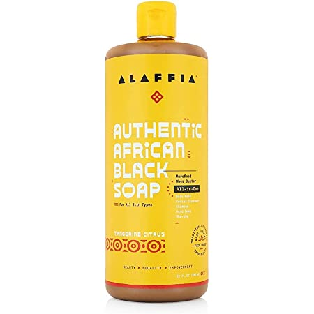 Alaffia Authentic African Black Soap All-in-One, Tangerine Citrus, 32 Oz. Body Wash, Facial Cleanser, Shampoo, Shaving, Hand Soap. Perfect for All Skin Types. Fair Trade, No Parabens, Cruelty Free, Vegan