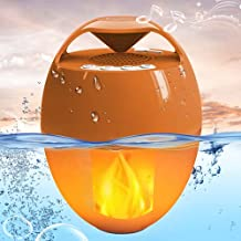 Bluetooth Speakers with Flame Lights, KingSom Portable Pool Speaker IP68 Waterproof Floating, Rich Bass,HD Stereo Sound,Hands-Free Wireless Hot Tub Speaker for Shower Home Spa Outdoor
