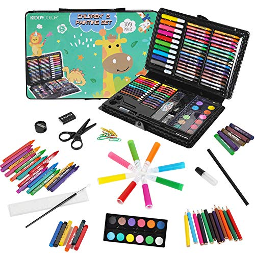 KIDDYCOLOR 109-Piece Deluxe Art Set for Kids, Painting & Drawing Art Supplies in a Plastic Case with Markers, Watercolor Cakes, Color Pencils, Great Art Kit Gift for Kids 3-12