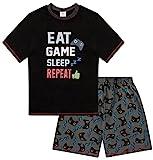 Pijama corto para niños de 9-15 años con estampado Eat Game Sleep Repeat Negro Negro ( 15-16 años
