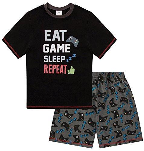 Pijama corto para niños de 9-15 años con estampado Eat Game Sleep Repeat Negro Negro ( 14- 15 años
