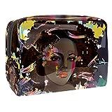 Bolsa de maquillaje portátil con cremallera bolsa de aseo de viaje para las mujeres práctico almacenamiento cosmético bolsa arte encanto chica