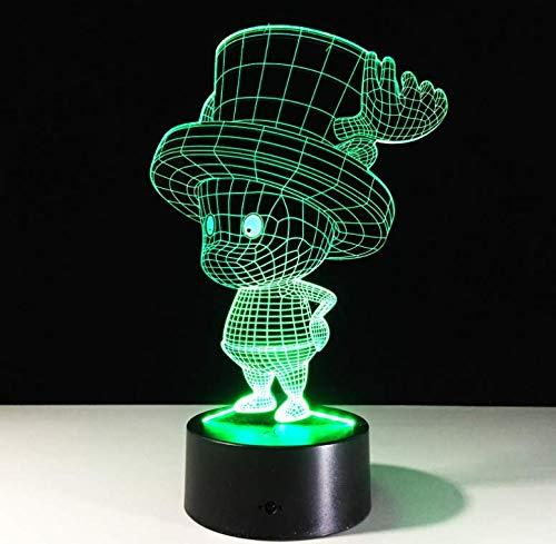 Illusory Schiff Boot Tony Chopper 3D LED Licht Tischlampe RGB 7 Farbwechsel Nachtlichter Touch-Fernbedienung