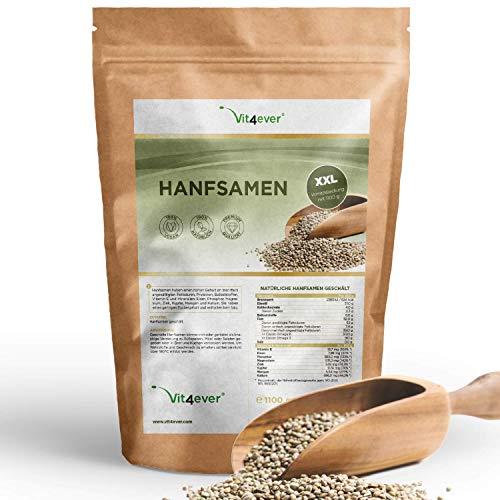 Vit4ever® Hanfsamen geschält - 1100 g (1,1 kg) - Laborgeprüft - Natürliche Protein Eiweißquelle - Herkunft Frankreich - Reich an Omega-3 Fettsäuren - 100% Hempseeds - Vegan - Superfood