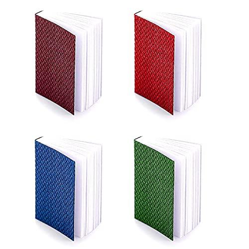 4 Piezas Miniaturas Libros de casa de muñecas Mini Libros Decoración de casa de muñecas Composición clásica Multicolor Modelo de Cuaderno Accesorios Muñeca Suministros de Juguete para casa de muñecas